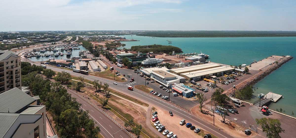 Aerial view of Francis Bay Mooring Basin and Fisherman's Wharf