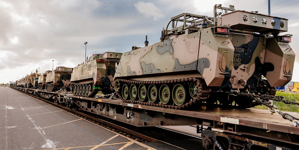 Defence tanks on train