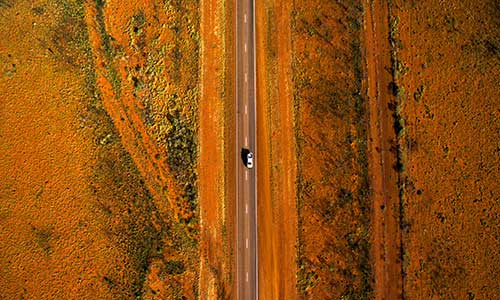 Aerial view of central Australia bushland