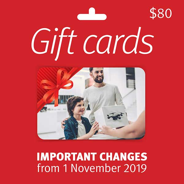 Important changes to gift cards from 1 November 2019