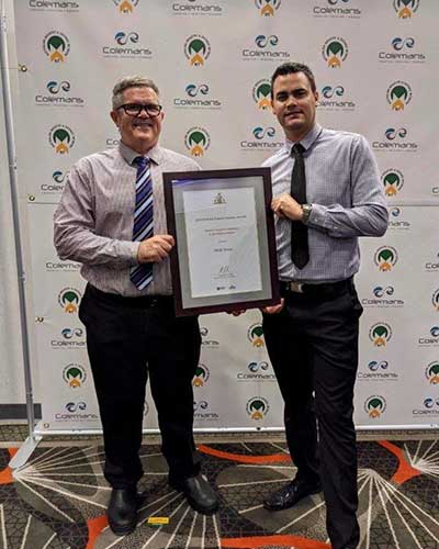SAGE staff accepting the Chief Minister's Award of Excellence in the Defence Industry