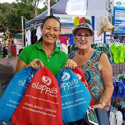 Denise Dunn with a customer who purchased Slappa's thongs