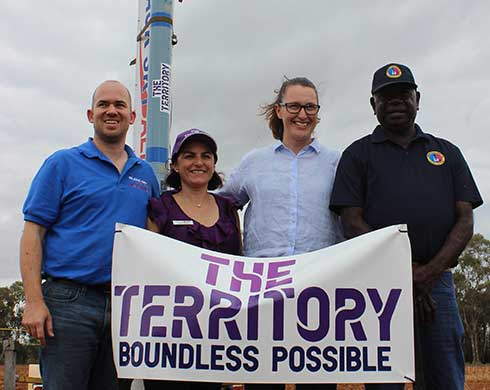 Group of people at the rocket launch in Queensland