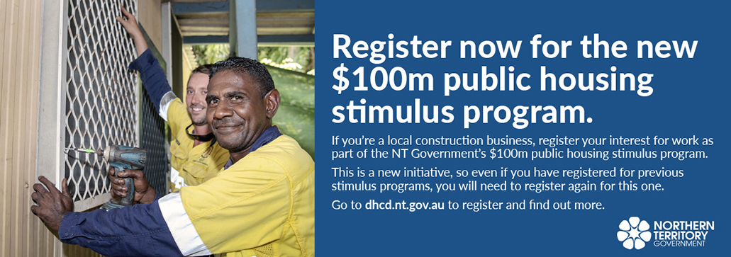 Register for the new $100m public housing stimulus program, dhcd.nt.gov.au