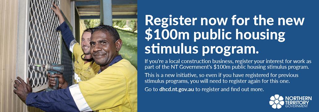 Register for the new $100m public housing stimulus program, dhcd.nt.gov.au