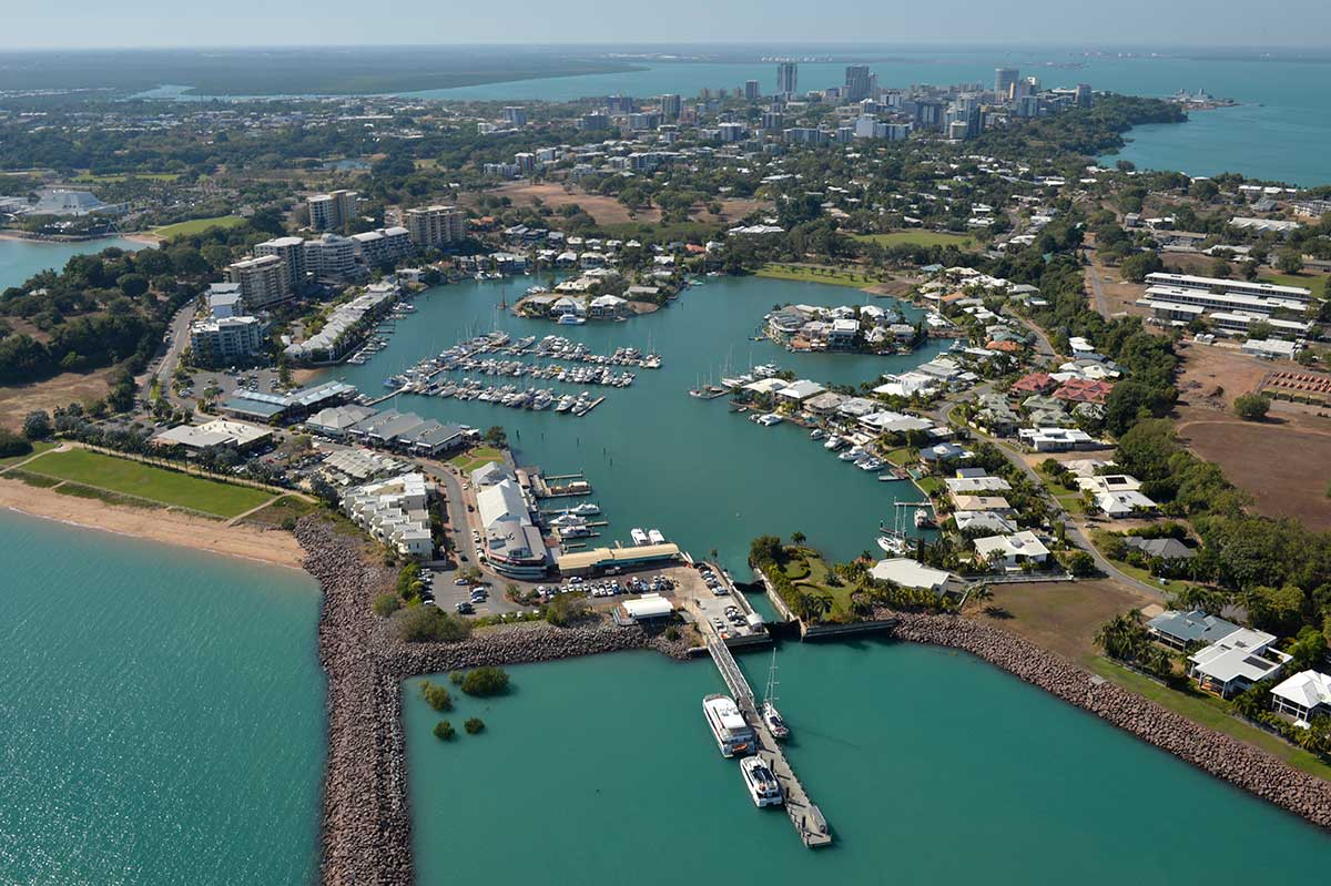 Aerial view of Darwin CBD with Cullen Bay in the foreground