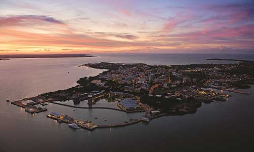 Aerial view over Darwin City
