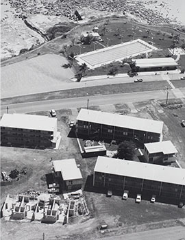 Ariel shot of Darwin Community College in the 1970s