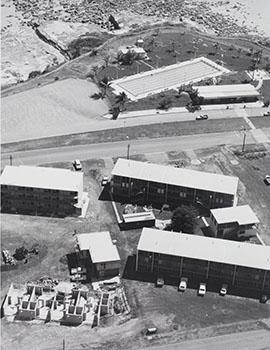 Ariel shot of Darwin Community College in the 1970s