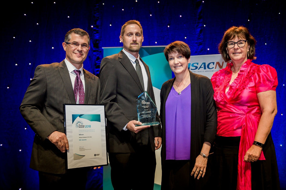 NEC staff receiving the NT Training Medium Employer of the Year award
