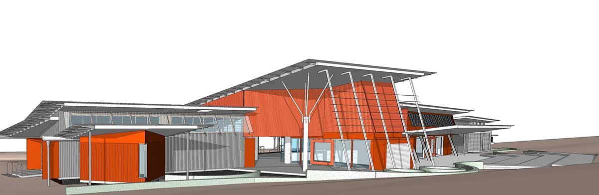 Artist impression of the front of the proposed George Brown Darwin Botanical event and visitor centre