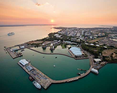 Aerial view of Darwin Waterfront