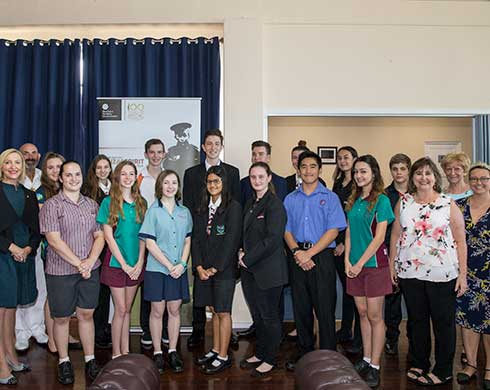 Group shot of the 2018 Chief Minister's Anzac Spirit Study Tour winning students