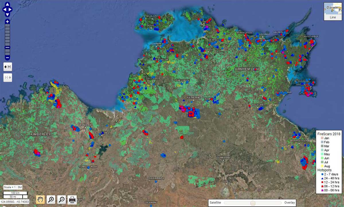 Example of a NAFI satellite image showing locations of fires in the Northern Terrtiory