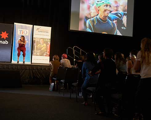 Turia Pitt on stage at an OBM keynote event