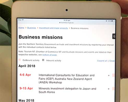 Screenshot of business missions calendar