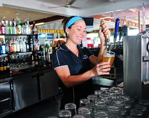 Women pouring beer