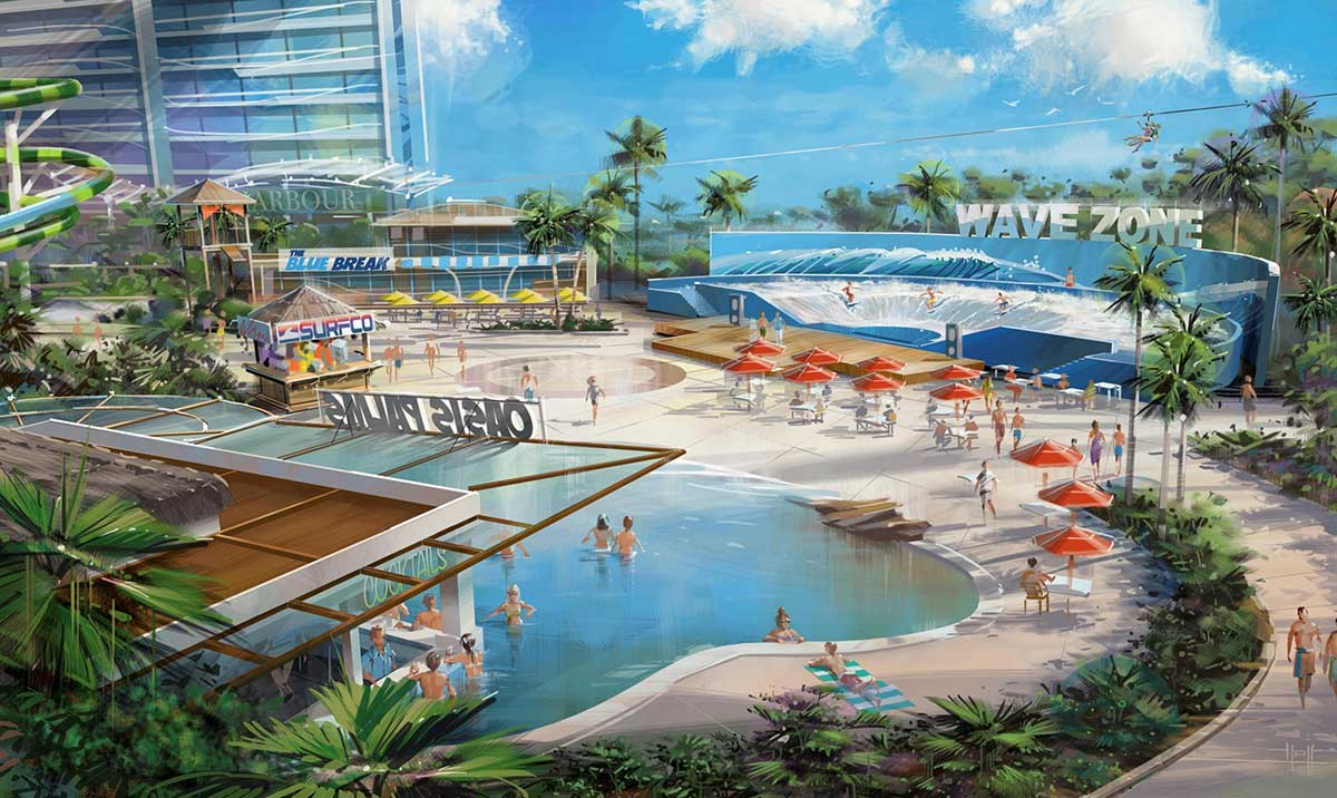 Concept drawing of the proposed water theme park in Darwin