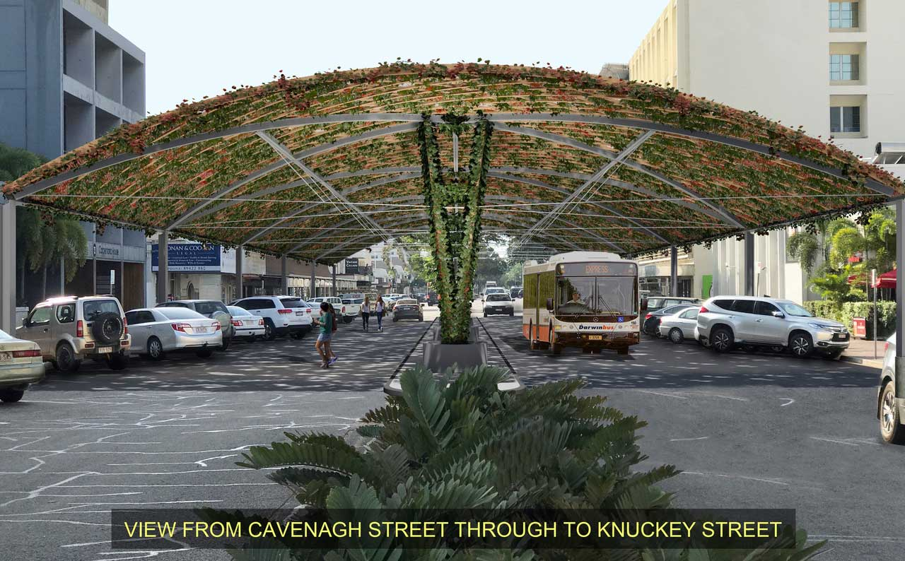 Concept image of shade structure over Cavenagh Street