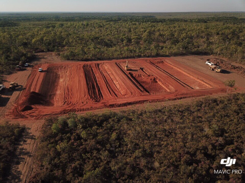 Aerial view of work at Bynoe Point