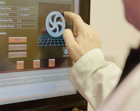 Man working on a touchscreen
