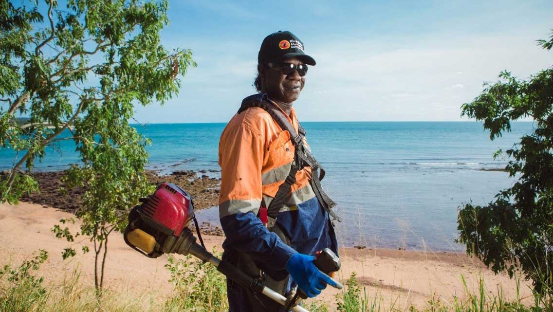 Aboriginal man in work clothing