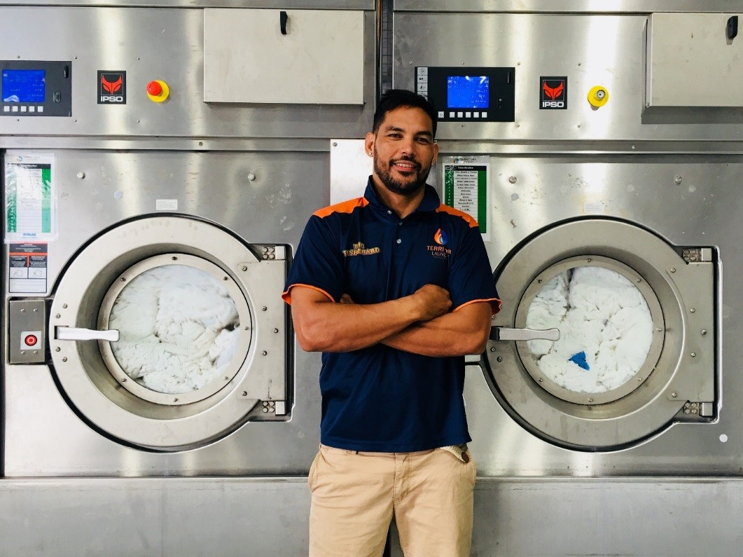 Trevor Oliver from Territory Laundry Services in his laundry