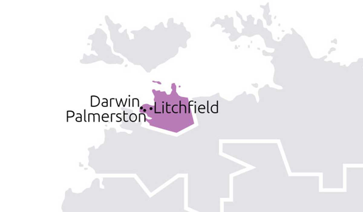 Boundaries and towns that Darwin, Palmerston and Litchfield TBC service.