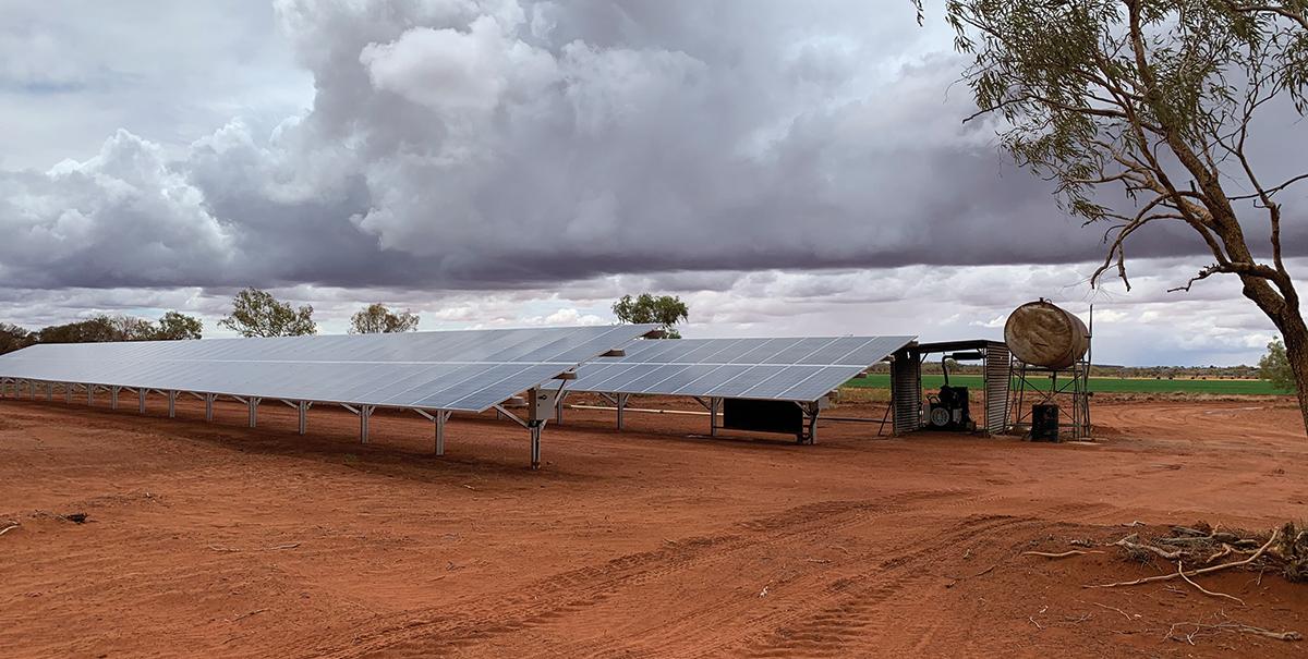 Bank of solar panels at Orange Creek