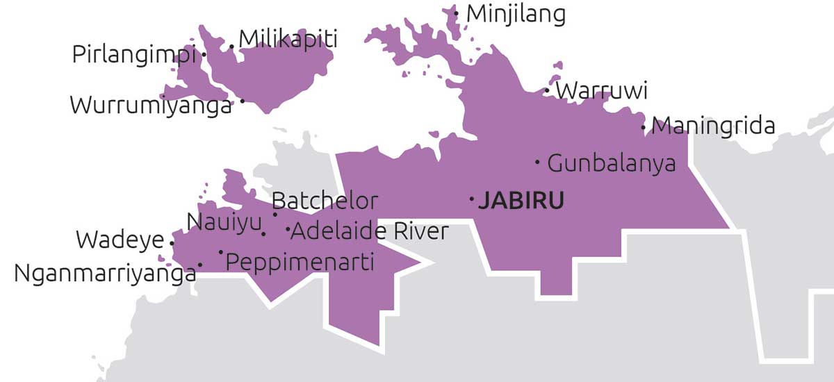 Boundaries and towns that Top End TBC service.