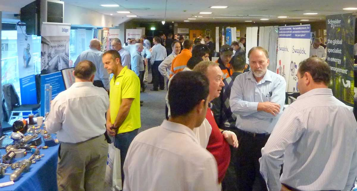 Attendees at a technology expo