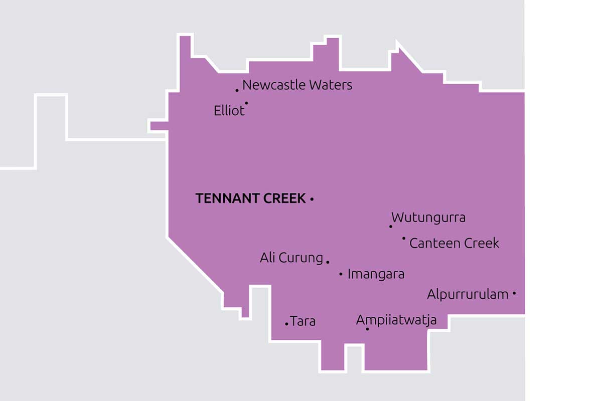 Boundaries and towns that Barkly TBC service.
