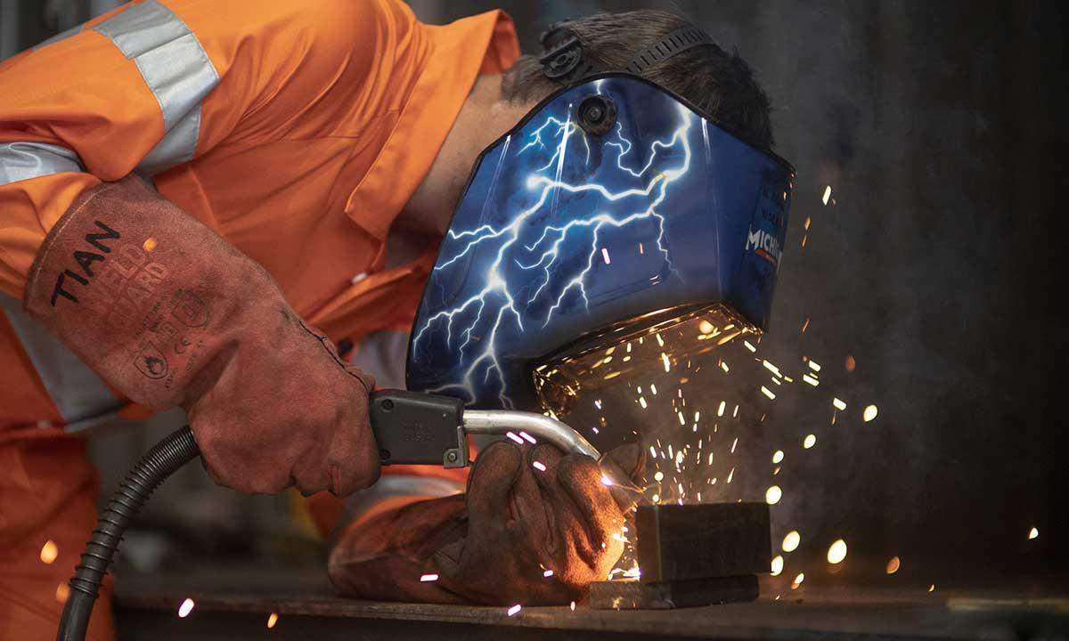 Workman welding