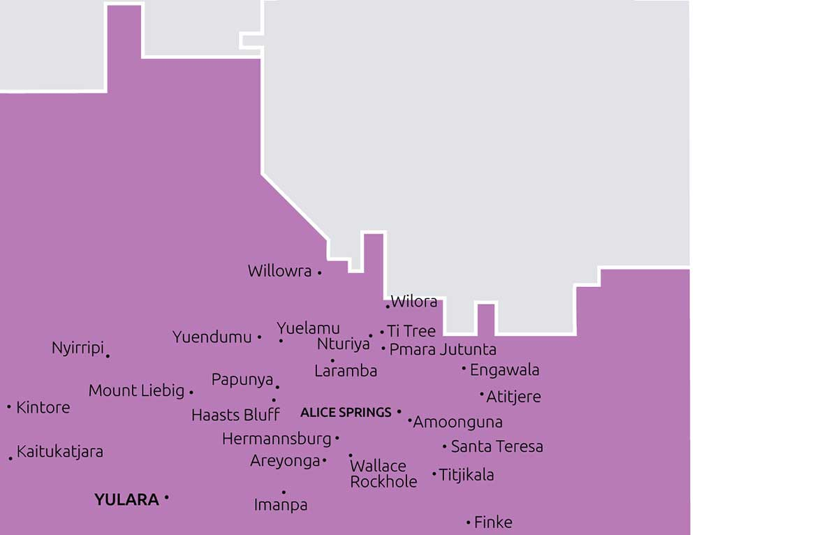 Boundaries and towns that Central Australia TBC service.